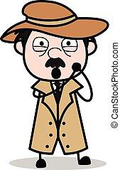 détective, police, -, agent, vecteur, illustration, agréable, dessin animé, retro