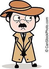 détective, police, -, agent, vecteur, illustration, innocent, dessin animé, retro