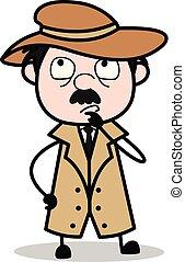 détective, police, -, agent, vecteur, illustration, rêver, dessin animé, retro