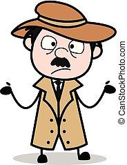détective, police, inconnu, -, agent, vecteur, illustration, dessin animé, retro