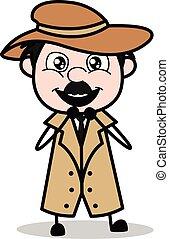 détective, police, -, plein d'espoir, agent, vecteur, illustration, dessin animé, retro