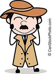 détective, police, rougissement, -, agent, vecteur, illustration, dessin animé, retro