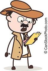 détective, regarder, après, illustration, vecteur, rapport, dessin animé, surpris
