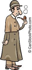 détective, retro, illustration, dessin animé