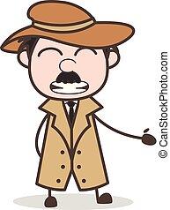 détective, rigolote, illustration, figure, vecteur, sourire, dessin animé