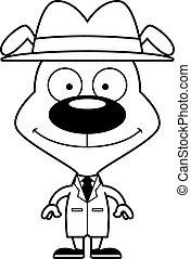détective, sourire, chiot, dessin animé
