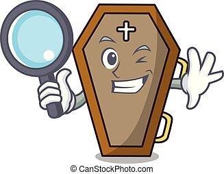 détective, style, caractère, cercueil, dessin animé