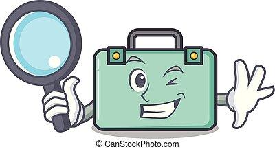 détective, style, caractère, dessin animé, valise
