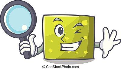 détective, style, carrée, caractère, dessin animé