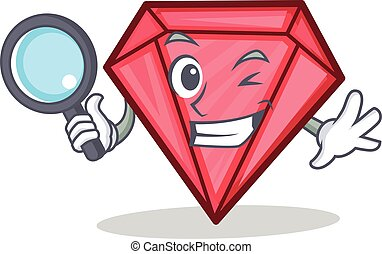 détective, style, diamant, caractère, dessin animé
