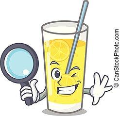 détective, style, limonade, caractère, dessin animé