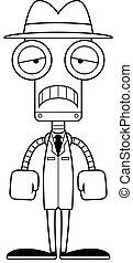 détective, triste, robot, dessin animé
