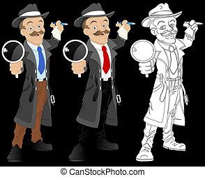 détective, vecteur, caractère, dessin animé