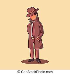 détective, vecteur, illustration., prime, dessin animé