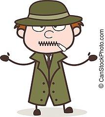 détective, zipper-mouth, illustration, figure, vecteur, dessin animé