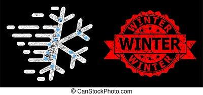 détresse, éclat, taches, clair, timbre, filet, toile, gelée, flocon de neige, hiver