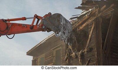 détruit, gros plan, vieux, voiture bois, seau, démolition, bâtiment.