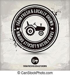 développé, &, ferme, locally, timbre, frais
