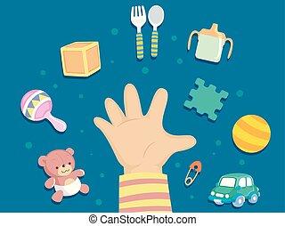 développement, enfantqui commence à marcher, intellectuel, illustration, main