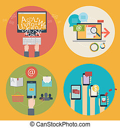 développement, ensemble, plat, -, media., education, concept, conception, blogging, conception, communications, icônes toile, apps, ligne, seo, achats, concepts affaires, services, publicité, mobile, analytics, vecteur, social, apprentissage