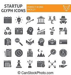 développement, finance, paquet, ensemble, collection, démarrage, isolé, croquis, symboles, solide, vecteur, arrière-plan., pictograms, signes, logo, blanc, icône, illustrations, glyph