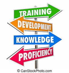 développement, formation, connaissance, illustration, compétence, flèche, signes, 3d