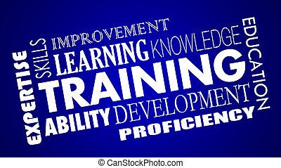 développement, formation, mots, techniques, illustration, collage, apprentissage, education, 3d