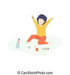 développement, mignon, gosses, coloré, séance, garçon, illustration, education, vecteur, plancher, handprints, peinture, créativité