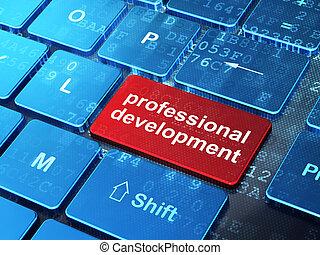 développement, mot, render, bouton, clavier, fond, entrer, professionnel, education, informatique, concept:, 3d