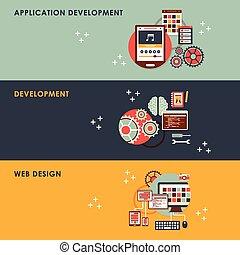 développement, plat, concept, toile, illustration, conception