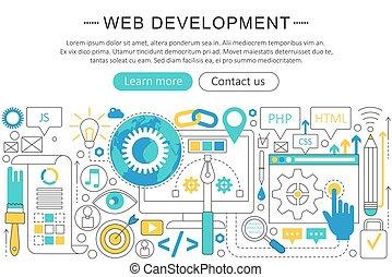 développement, toile, éléments, poster., plat, élégant, concept., en-tête, layout., site web, présentation, vecteur, mince, aviateur, ligne, bannière