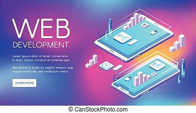 développement, toile, vecteur, illustration technologie
