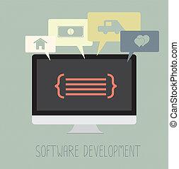 développement, travail, codage, logiciel