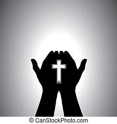 dévot, adorer, chrétien, main, croix