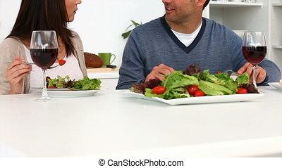 dîner, avoir, couple, romantique