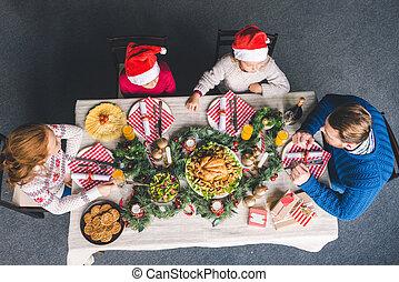 dîner, avoir, noël famille