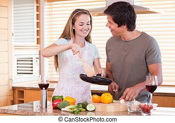 dîner, couple, cuisine