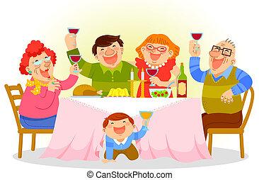 dîner, famille