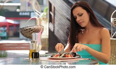 dîner, femme, avoir, restaurant