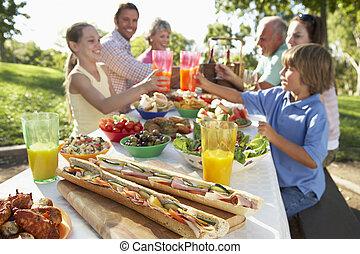 dîner, fresque, al, famille