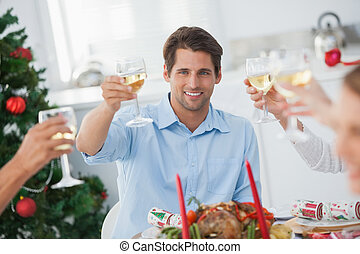 dîner, grillage, noël, famille