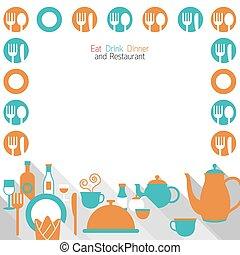 dîner, manger, cadre, restaurant