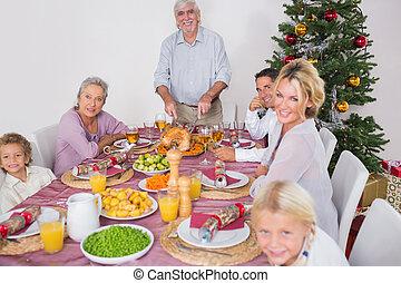 dîner, noël, famille, heureux