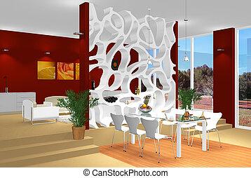 dîner, salle moderne, vivant