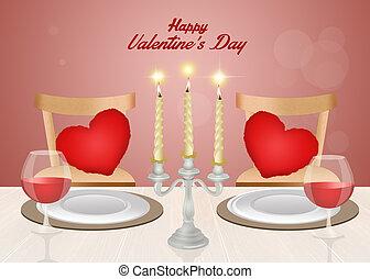 dîner, valentines, romantique, jour