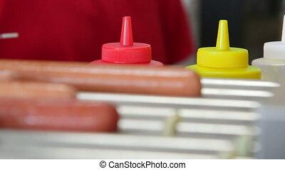 dîneur, fabricant, hot dog, rouleau, hot-dog