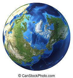 d, globe, pole)., arctique, rendering., (north, réaliste, 3, la terre, vue