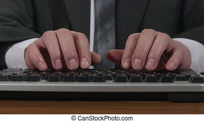 dactylographie, clavier, homme, business