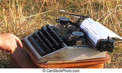 dactylographie, vendange, femme, machine écrire, nature