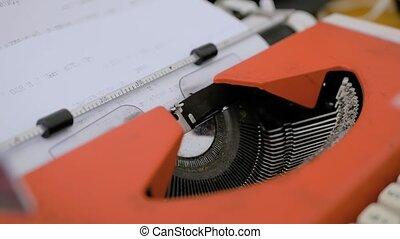 dactylographie, vendange, view:, feuille, haut, machine écrire, -, fin, texte, vieux, papier